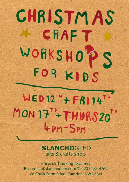workshops for children 7+ camden slanchogled arts  and crafts